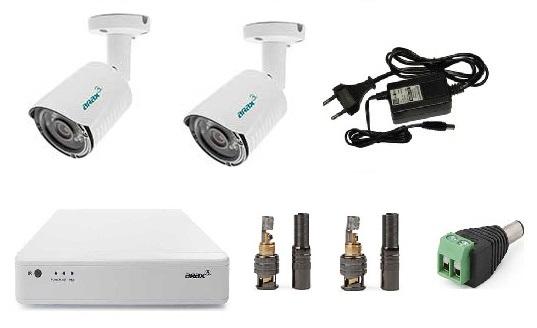 Что входит в комплект видеонаблюдения на 2 камеры для улицы